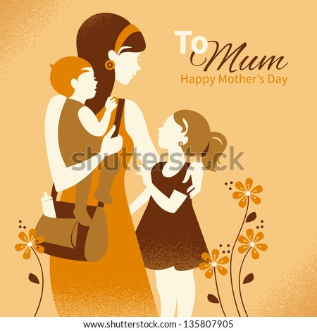Beautiful mother silhouette with her children. Cards of Happy Mother's Day - stock vector