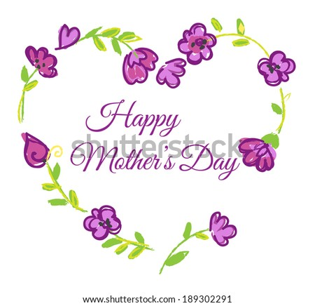 Beautiful mothers day hand drawn card - stock vector