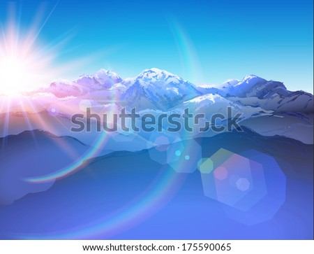 Beautiful mountain landscape (hand drawn with brushes) and sun with lens flares - vector illustration. - stock vector