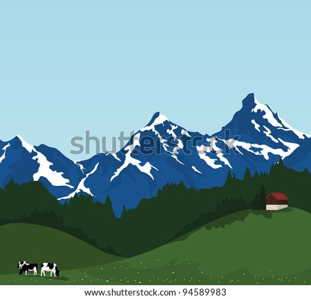 beautiful mountain landscape, hut and black and white cows eating on pasture. Vector illustration