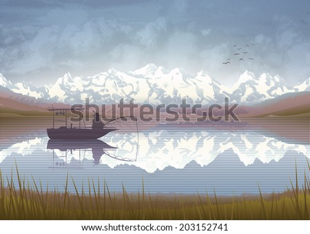 Beautiful mountain scenery with a old man in a boat fishing in a lake  - stock vector