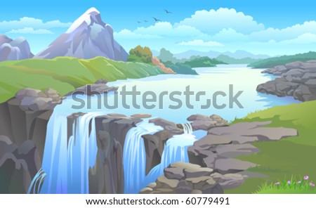 BEAUTIFUL MOUNTAIN SIDE  RIVER TURNING INTO A  WATERFALL - stock vector