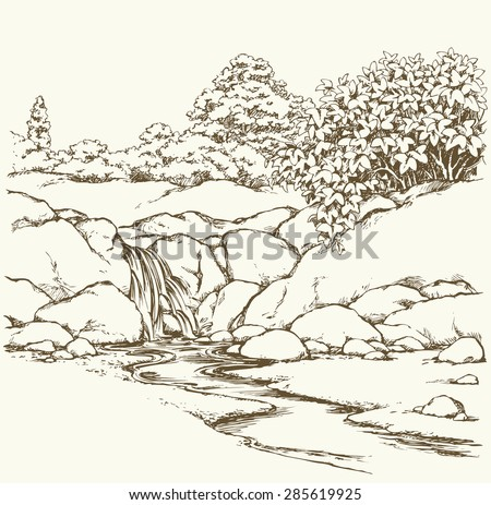 Beautiful mountain trickle drop down gurgling seethe on mount scar knoll with lush shrubs. Vector freehand ink drawn backdrop sketch view in art doddle style pen on paper with space for text on sky - stock vector