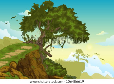 Beautiful mountainous background with tree vector - stock vector