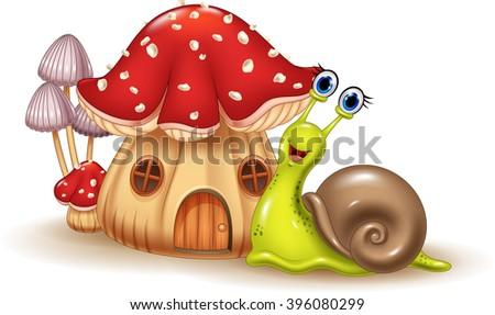 Beautiful mushroom house and happy snail cartoon - stock vector