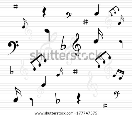 Beautiful music background with notes vector - stock vector