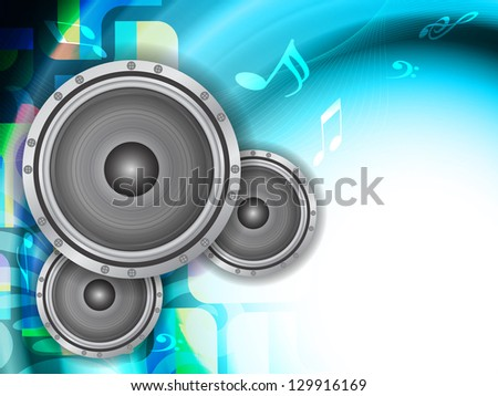 beautiful music theme modern designed background with loudspeakers, Vector Illustration - stock vector