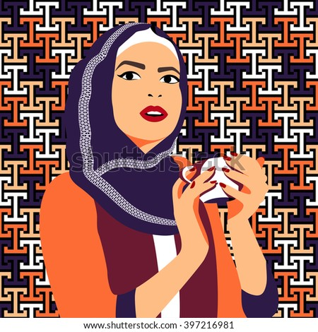 Beautiful muslim woman drinking coffee. Young girl in blue ornamental hijab with a cup, as a background - colorful geometric seamless pattern. Character design, contemporary art. Vector illustration