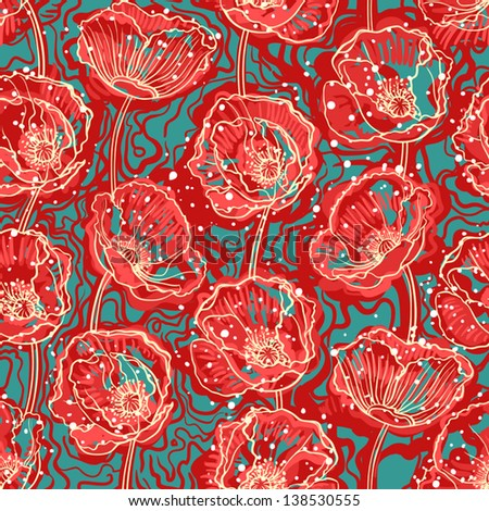 beautiful natural pattern with abstract poppies on a turquoise background. vector illustration  - stock vector