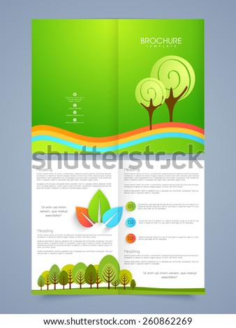 Beautiful nature brochure or flyer concept with place holders, Including front and back pages for your corporate purpose.  - stock vector