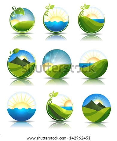 Beautiful nature illustrations. Water, leafs, meadow and mountains. Isolated on a white background. - stock vector