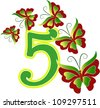 Beautiful number five with butterflies - stock photo