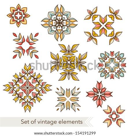 Beautiful ornament elements set. - stock vector