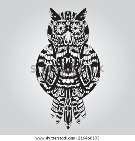 Beautiful ornamental owl graphic on a light background - stock vector