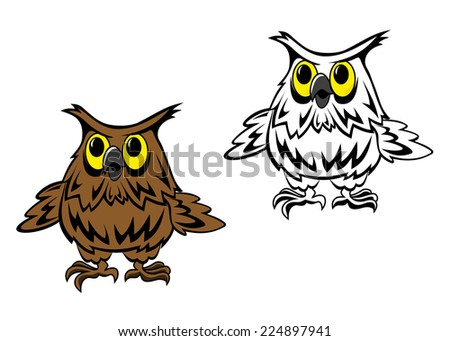 Beautiful owl in cartoon style isolated on white background - stock vector
