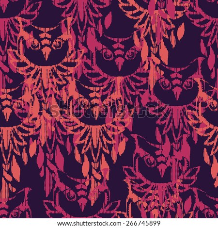 beautiful owl vector illustration, color, abstract illustration, silhouette, design. seamless. trendy print textiles - stock vector