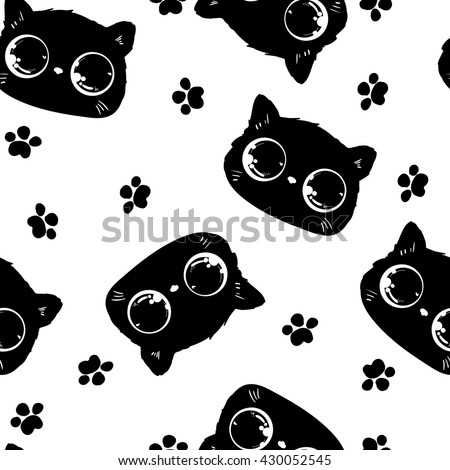 beautiful packaging design with a cat pattern. cat with bright eyes, a cute kitten vector image background wallpaper - stock vector