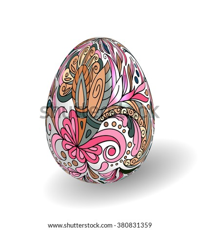 Beautiful painted easter egg on white background. 3D effect, shadow. Hand drawing doodle flowers on white egg. - stock vector