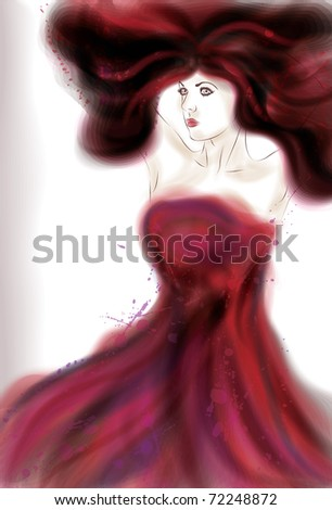 Beautiful painted woman in red - stock vector