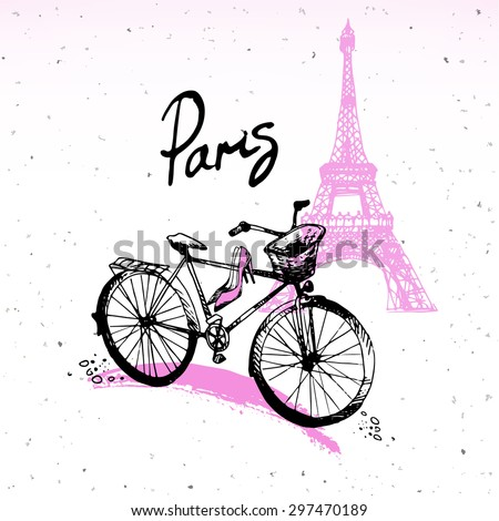 Beautiful painting, sketch art - romantic set of black and pink hand drawn element and  isolated, with Eiffel tower and bicycle. Fashion print of card in french style - vector illustration. - stock vector