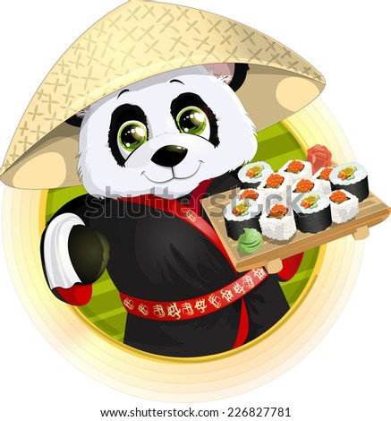 beautiful Panda holding in his paws a tray of sushi - stock vector