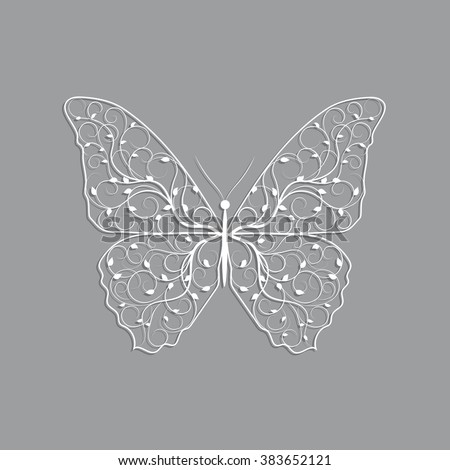 Beautiful paper butterfly with floral pattern on gray background. - stock vector