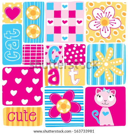 beautiful patchwork flower cat vector illustration - stock vector