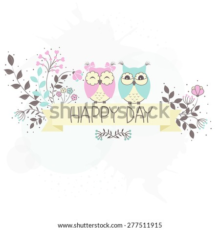 Beautiful pattern card with owls and flowers - stock vector