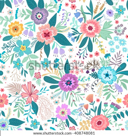 Beautiful pattern in small abstract flower. Small colorful  flowers. White background. Small cute simple spring flowers. - stock vector
