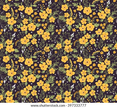 Beautiful pattern small flower small yellow stock vector 397333777 beautiful pattern in small flower small yellow flowers black background seamless floral pattern mightylinksfo