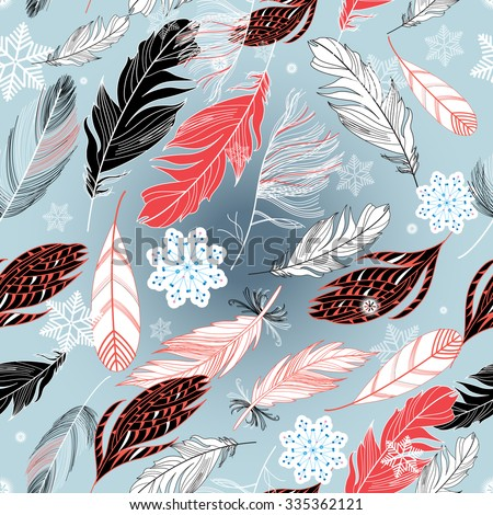 Beautiful pattern of the feathers of birds and snowflakes - stock vector