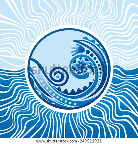 Beautiful pattern sea ave round ornament design element vector illustration - stock vector