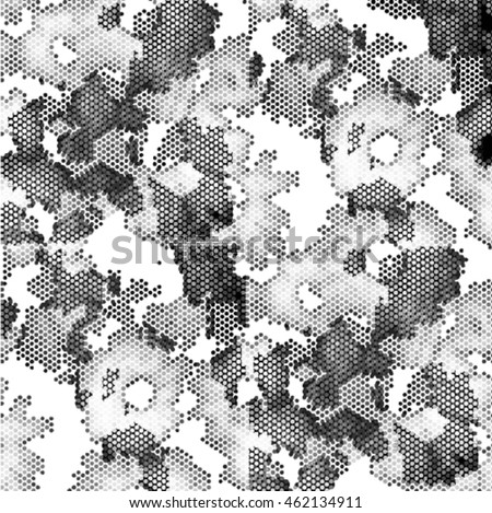 Beautiful pattern with abstract flowers. Black and white spotted vector illustration background