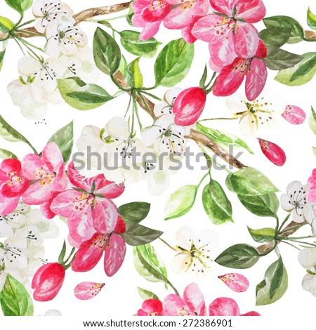 Beautiful pattern with flowers apple and peach. Vector illustration - stock vector