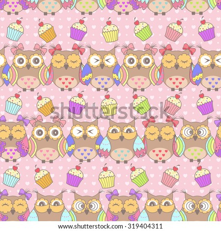 Beautiful pattern with owls and cakes on a pink background - stock vector