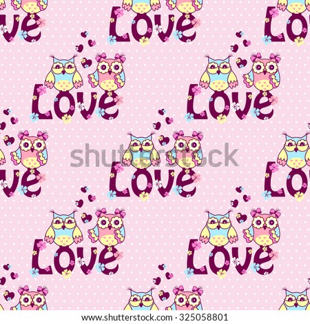 Beautiful pattern with owls on a pink background - stock vector