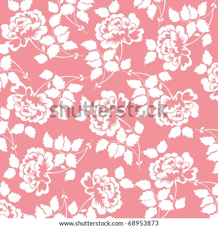 beautiful pattern with rose flowers on red background, floral vector illustration