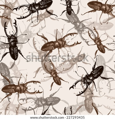 beautiful pattern with the image of beetles. Vector. - stock vector