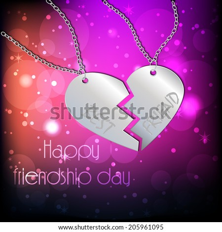 Beautiful pendant on shiny background for Happy Friendship Day celebrations.eps 10 - stock vector