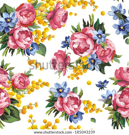 Beautiful peony flower seamless pattern on white background, vector illustration - stock vector
