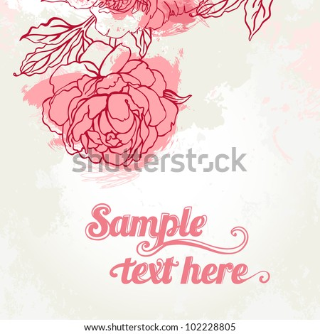 Beautiful peony on beige background. Hand drawn vector illustration. - stock vector