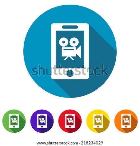 Beautiful Phone Camera web icon - stock vector