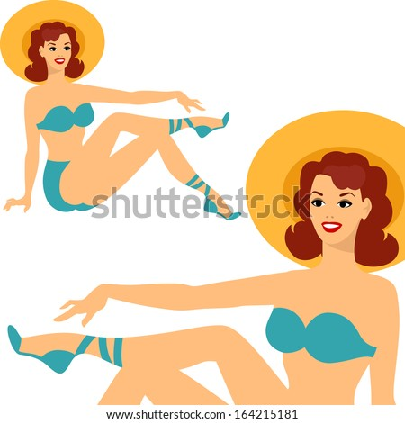 Beautiful pin up girl 1950s style in swimsuit. - stock vector