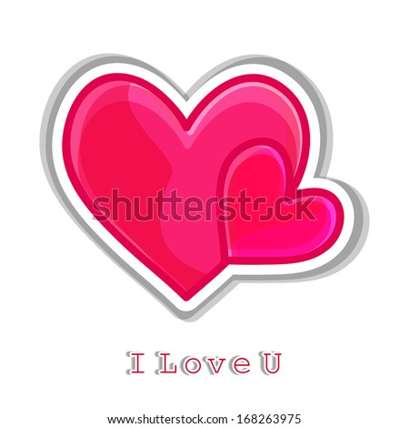 beautiful pink love heart with i love you text.Eps10 - stock vector