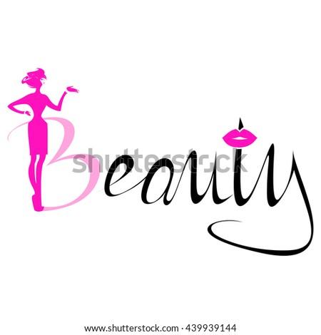 Beautiful Pink Silhouette Woman Beauty Logo Stock Vector