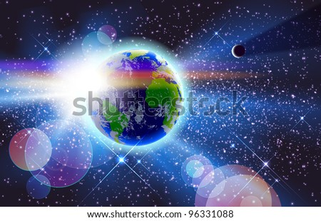 Beautiful Planet Earth, Sun & Moon In Space. Eps 10 transparencies used on other than normal mode. Gradient mesh used. - stock vector