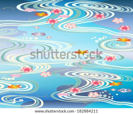 Beautiful Pool -vector illustration in the Japanese tradition