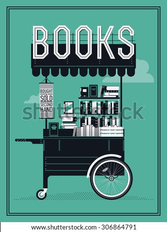 Beautiful portable book cart vector illustration   Small bookshop stand with secondhand books. Ideal for book themed graphic and web design, posters, wall art and other printables - stock vector