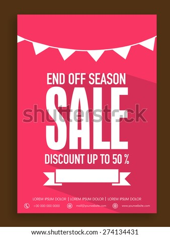 Beautiful poster, banner or flyer design for End of Season sale with discount offer. - stock vector