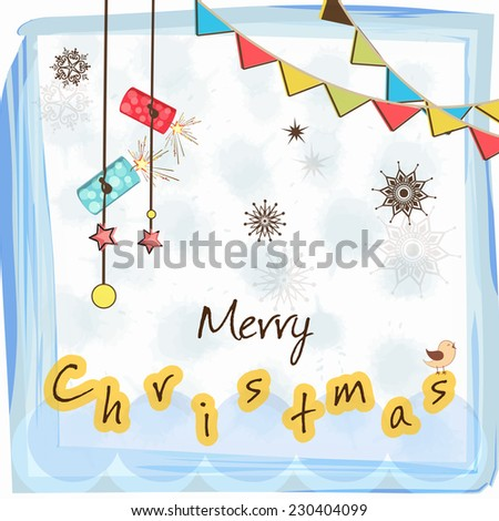 Beautiful poster for Merry Christmas celebration with stylish text, hanging crackers on colorful ribbon and snowflake decorated background. - stock vector